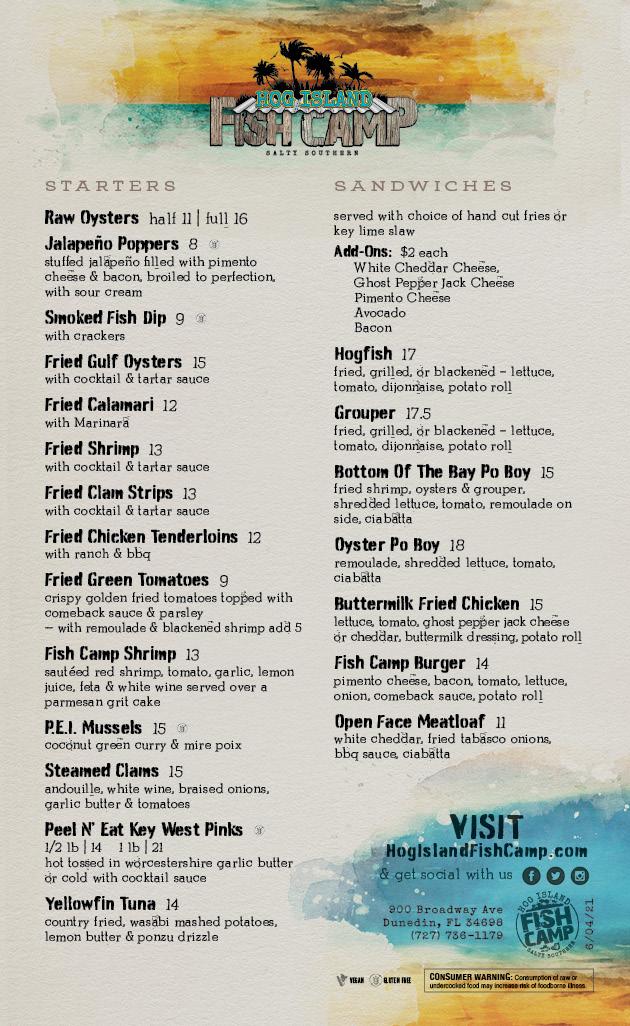 Lunch & Dinner Menu | Hog Island Fish Camp